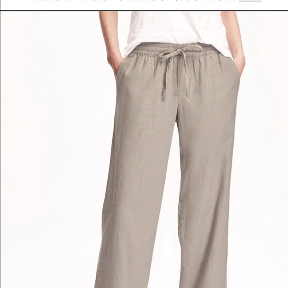 54eb33b9edb69 THREE PAIRS Mid-Rise Linen Blend Pants. M_5b6211ba04ef5023d003b54b